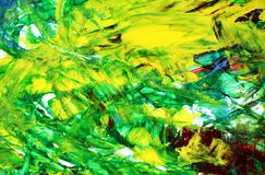 Yellow blue green phosphorescent abstract paint watercolor background, watercolor acrylic painting abstract background. Yellow blue green phosphorescent bright royalty free stock photography