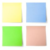 Yellow, blue, green and pink note paper Royalty Free Stock Photography