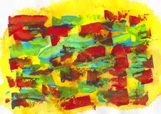 Yellow, blue, green and red acrylic and watercolor. Painting art, abstract background, splashing, paint, ink, drop, stain Royalty Free Stock Photo