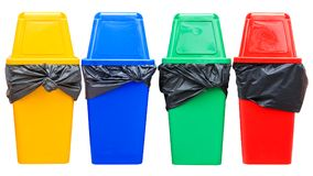 Yellow blue green and red recycle bin on white. Royalty Free Stock Images