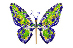 Yellow blue green white paint made butterfly Royalty Free Stock Images