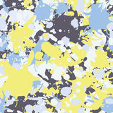 Yellow blue grey ink paint splashes seamless pattern. Yellow blue grey artistic ink paint splashes seamless pattern vector Royalty Free Stock Photo