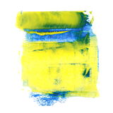 Yellow blue  grunge brush strokes oil paint isolated on white background Royalty Free Stock Images