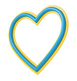 Yellow blue heart picture frame isolated on white. Stock Photos
