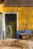 Yellow and blue house, Portugal Royalty Free Stock Photo