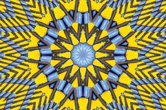 Yellow blue kaleidoscope pattern architecture abstract background. Abstract fractal kaleidoscope background Abstract fractal patte. Rn geometrical symmetrical Royalty Free Stock Photography