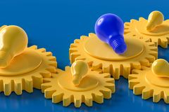 Yellow and Blue light bulb on the gear. Blue background, idea concept 3d render stock illustration