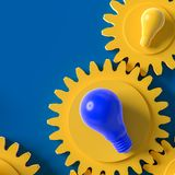 Yellow and Blue light bulb on the gear. Blue background, idea concept 3d render royalty free illustration