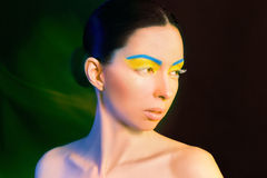 Yellow blue makeup. Portrait of a beautiful young girl. Yellow blue makeup Stock Photography