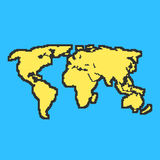 Yellow and blue map with black contour Stock Photo