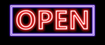 Neon yellow open sign. A red blue Neon sign which says open sign with blue border with fluorescent light A neon open sign glowing blue in the window of a Stock Photography