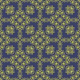 Yellow Blue Ornamental Seamless Pattern. Endless Texture. Oriental Geometric Ornament Royalty Free Stock Images
