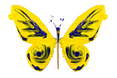 Yellow blue paint made butterfly Stock Photography