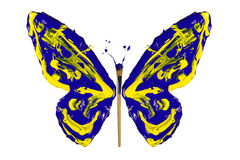 Yellow and blue paint made butterfly Stock Photography