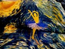 Yellow and  Blue Paper Ballerina Media Art stock photos
