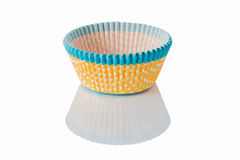 Yellow blue paper cakes cups. Stock Images