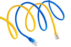 Yellow and blue patch cords. Royalty Free Stock Images