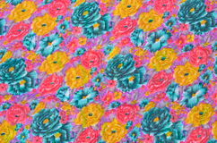 Yellow, Blue and Pink Flowers Fabric Texture Royalty Free Stock Image