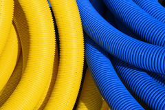 Yellow and blue pipes Royalty Free Stock Photos