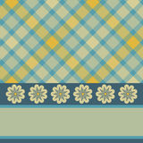 Yellow blue plaid flower card. Yellow and blue retro flower and plaid card stock illustration