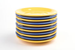 Yellow and blue plates Royalty Free Stock Image