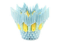 Yellow-blue pot. Origami. Stock Image