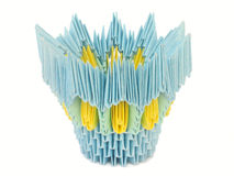Yellow-blue pot. Origami. Royalty Free Stock Photo