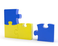 Yellow and blue puzzles Royalty Free Stock Photos