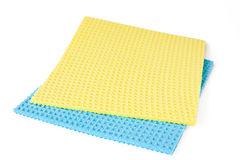 Yellow and blue rag. Yellow and blue reg on white background Stock Photography