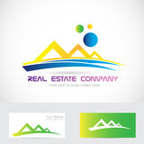 Yellow blue real estate logo icon Stock Photography