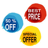 Yellow, blue and red blot with business text. Button with 50 off, best price, special offer. Illustration Stock Image
