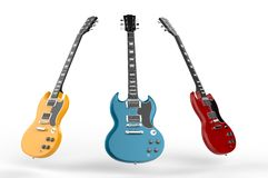 Yellow, blue and red electric guitars Royalty Free Stock Photo
