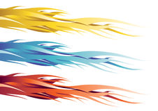 Yellow, blue and red flames. The image of red and gray flames stock illustration