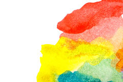 Yellow blue red green abstract watercolors. Abstract watercolor stain. Colorful background. Design elements. Yellow blue red green paint Stock Photography