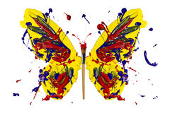 Yellow blue red paint made butterfly Stock Photo