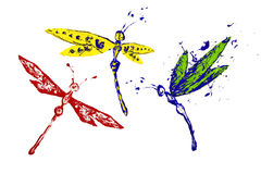 Yellow blue red paint made dragonfly set Royalty Free Stock Photo