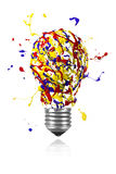 Yellow blue red paint splah made light bulb. Yellow blue red paint splah made conceptual light bulb stock illustration