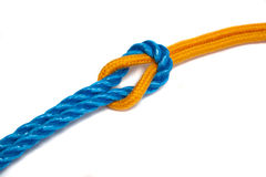 Yellow and Blue Ropes tied together Royalty Free Stock Photo