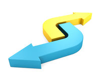 Yellow and blue rrows pointing in opposite directions. 3d render illustration Stock Photography