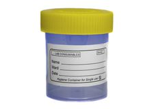 Yellow blue sample specimen container Royalty Free Stock Photo