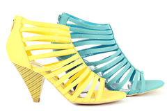 Yellow and blue sandals shoe Stock Photos