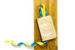 Yellow and blue satin ribbons book Royalty Free Stock Photos