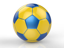 Yellow and blue soccer ball Stock Images