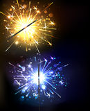 Yellow and blue sparkler Royalty Free Stock Photo