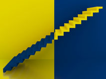 Yellow and blue stairs in interior,3d Royalty Free Stock Photography