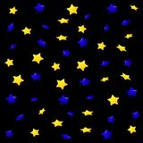 Yellow and blue stars on a black background, seamless endless pattern. royalty free stock image