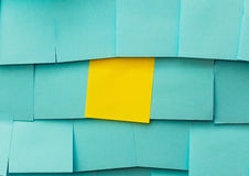 Yellow and blue sticky note stock images