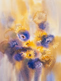 Yellow blue summer flowers bouquet. Flowers watercolor illustration. Mothers Day, wedding, birthday, Easter, Valentines Day Pastel colors Spring Summer Royalty Free Stock Photos