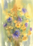Yellow blue summer flowers watercolor. Flowers watercolor illustration. Mothers Day, wedding, birthday, Easter, Valentines Day Pastel colors Spring Summer Royalty Free Stock Photography
