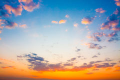 Yellow Blue Sunrise Sky With Sunlight Stock Photo